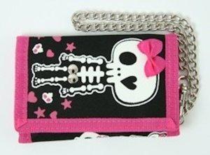 Portemonnaie mit Silberkette schwarz pink Skull Totenkopf Punkrock Mädchen
