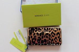 Portmonnaie Versace Jeans Leopard Gold Schwarz Samt Muster Neu