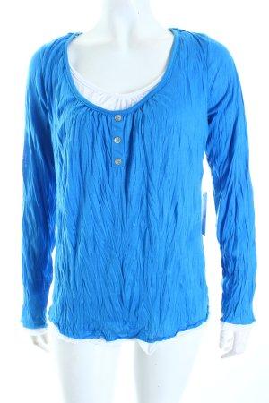 Porto Fortuna Longshirt blau Mustermix Materialmix-Look