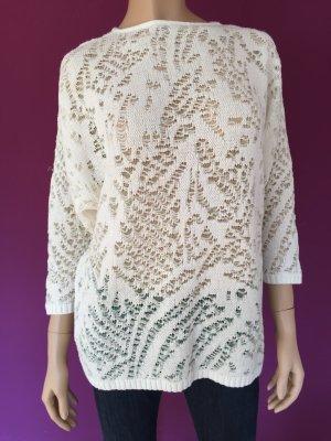 Portobello's Pullover Gr.36 Weiß Glitzer Oversize Vintage Strick Strickpullover