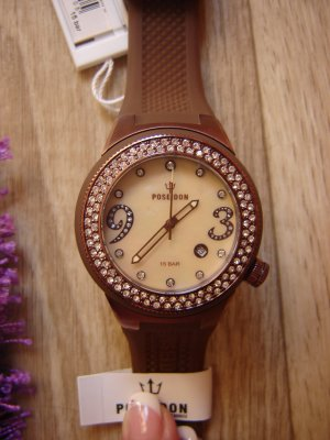 Analog Watch brown-cream synthetic material