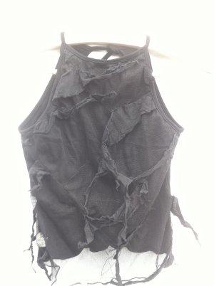 postapokalyptisches Top in schwarz transparent