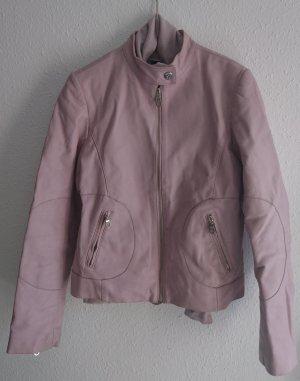 Powder Rose Leder Jacke, Größe 40