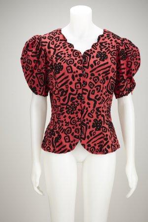 Power Shoulder Bluse mit Puffärmeln und Stoff-Glitzer-Print