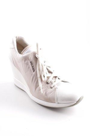 Prada Absatz Sneaker weiß-altrosa extravaganter Stil