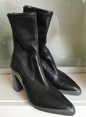 Prada Slouch Booties black leather