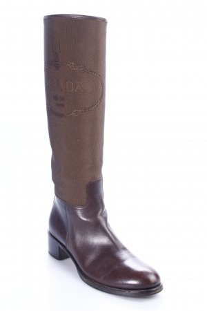 Prada Absatz Stiefel braun-dunkelbraun Eleganz-Look