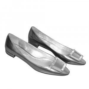 Prada Ballerina aus Leder in Silber, Gr. 37,5