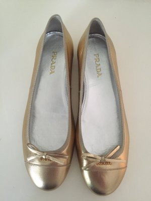 PRADA Ballerinas 39 Schuhe Slipper Silber Gold Leder Leather Metallic Beige NEU