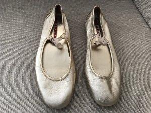 Prada Ballerinas Gold neuwertig 40 Flats Loafer Slipper