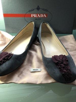 Prada Ballerinas dark grey-blackberry-red leather