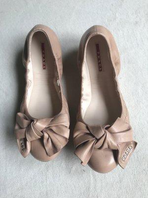 Prada Ballerina Mary Jane crema-rosa antico Pelle