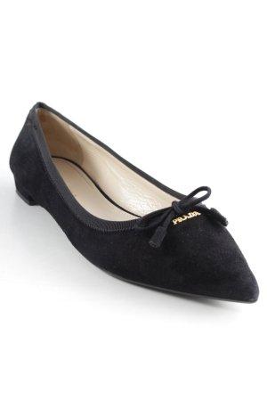 "Prada Ballerinas mit Spitze ""Calzatura Donna Camoscio Leather Nero"" schwarz"