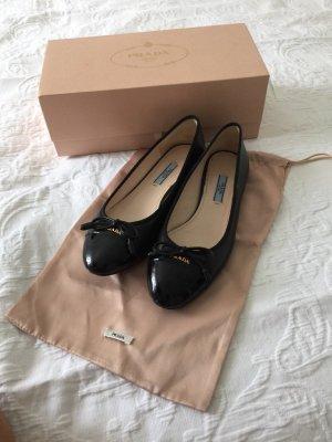 Prada Patent Leather Ballerinas black-gold-colored