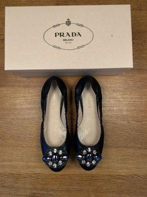 Prada Ballerinas, schwarz mit Steinen, 39, neu