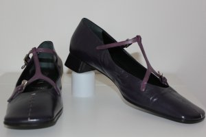 Prada Mary Jane Ballerinas taupe-dark violet leather