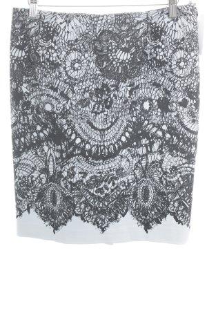 Prada Bleistiftrock schwarz-blassblau florales Muster Business-Look