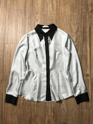 Prada Bluse graublau schwarz Gr IT 42 D 38