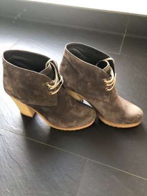 Prada Lace-up Booties grey brown