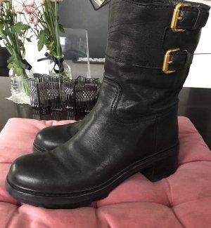 Prada Short Boots black leather