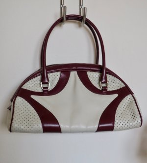 Prada Bowling Bag bordeaux-oatmeal leather