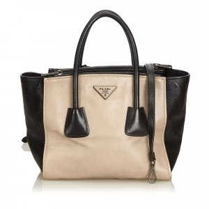 Prada Calf Leather Twin Pocket Tote