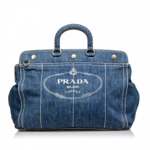 Prada Canapa Denim Satchel