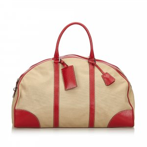 Prada Canvas Leather Trimmed Weekender