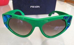 * PRADA * Cat -Eye SONNENBRILLE grün Kunststoff Zier- Steine blau
