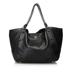 Prada Cervo Lux Leather Chain Tote Bag