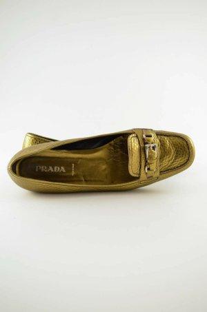 PRADA Damen Ballerinas College-Style Leder Genarpt Gold Metallic Riegel Gr.39,5