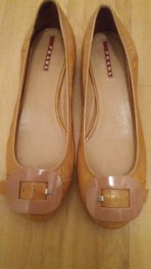 Prada Patent Leather Ballerinas beige leather