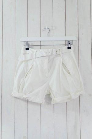 PRADA Damen Shorts Bundfalte Gürtel Weiß Baumwolle Elastan Stretch ital.40/dt.34