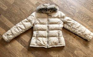 PRADA Daunen Winterjacke/Skijacke, beige, Fuchspelz