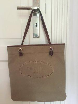 PRADA - Designer Shopper in beige mit Henkeln aus Leder