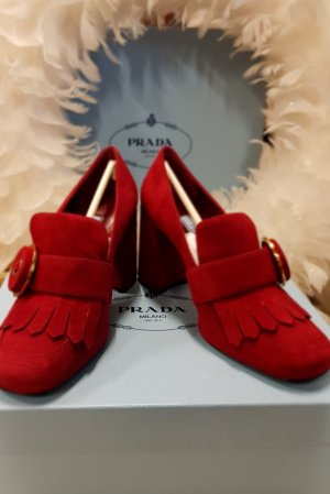 Prada Escarpins Mary Jane rouge daim