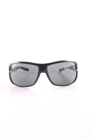 Prada eckige Sonnenbrille schwarz-goldfarben Elegant