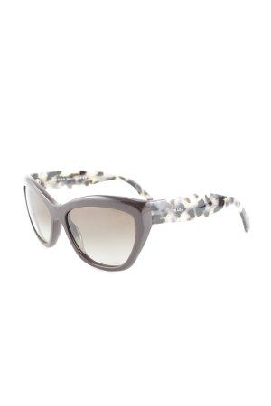 Prada Hoekige zonnebril abstract patroon straat-mode uitstraling
