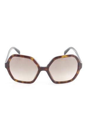 Prada eckige Sonnenbrille dunkelbraun-goldorange Vintage-Look