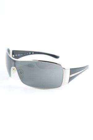 Prada Hoekige zonnebril zwart-zilver klassieke stijl