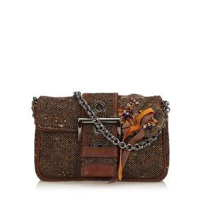 Prada Embellished Tweed Chain Handbag