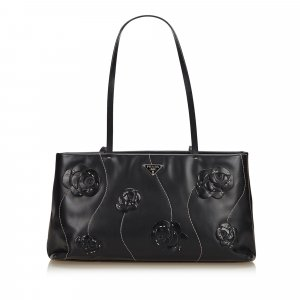Prada Embelllished Flower Leather Shoulder Bag