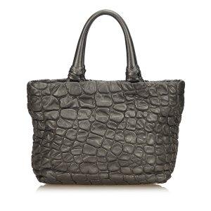 Prada Embossed Leather Shoulder Bag