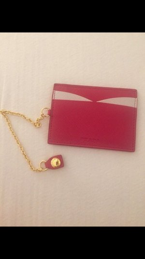 Prada Porte-cartes rouge framboise-blanc cuir