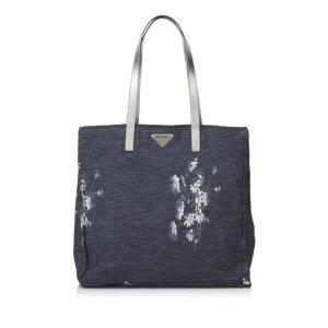 Prada Floral Canvas Shoulder Bag