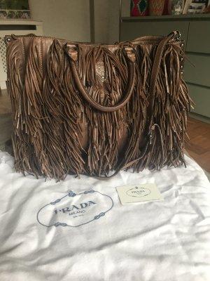 Prada Handbag brown-silver-colored