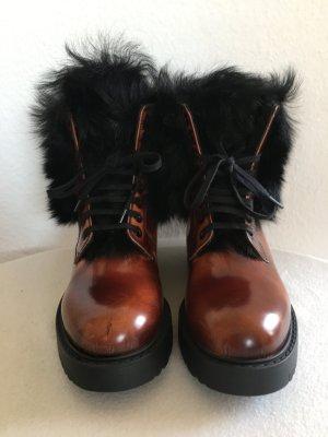 Prada, Fur Trimmed Leather Ankle Boots, Tabacco, gefüttert, 37, neu, € 1.250,-