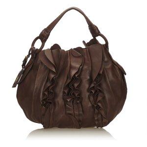 Prada Gathered Leather Hobo