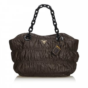 Prada Gathered Nappa Leather Chain Tote