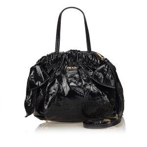 Prada Gathered Patent Leather Handbag